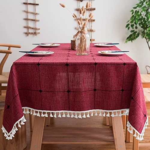 Mokani Washable Cotton Linen Solid Embroidery Checkered Design Tablecloth, Rectangle Table Cover Great for Kitchen Dinning Tabletop Buffet Decoration (55 x 86 Inch, Red)
