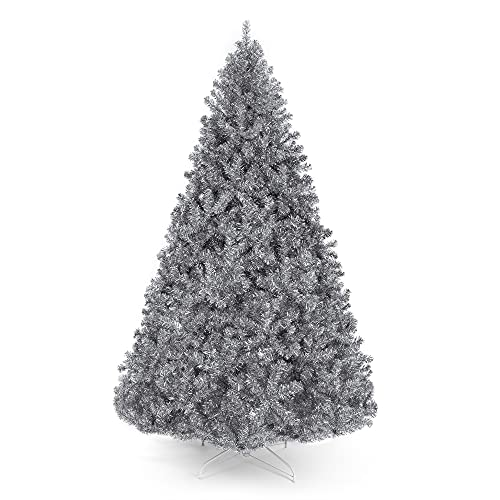 full tinsel tree, artificial silver christmas tree, aluminum tree