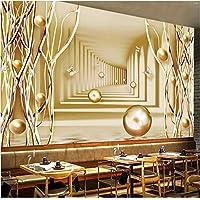 Lcymt カスタムサイズ壁画壁紙3Dスペースゴールデンツリーボール壁画リビングルームレストランカフェ背景壁の装飾-200X140Cm