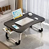 Home Office Lap Desk with Storage Drawer, Phone and Cup Holder, Laptop Bed Tray Table, 23.6' Foldable Laptop Desk, Laptop Stand for Working, Writing, Gaming and Drawing, Black Top White Legs