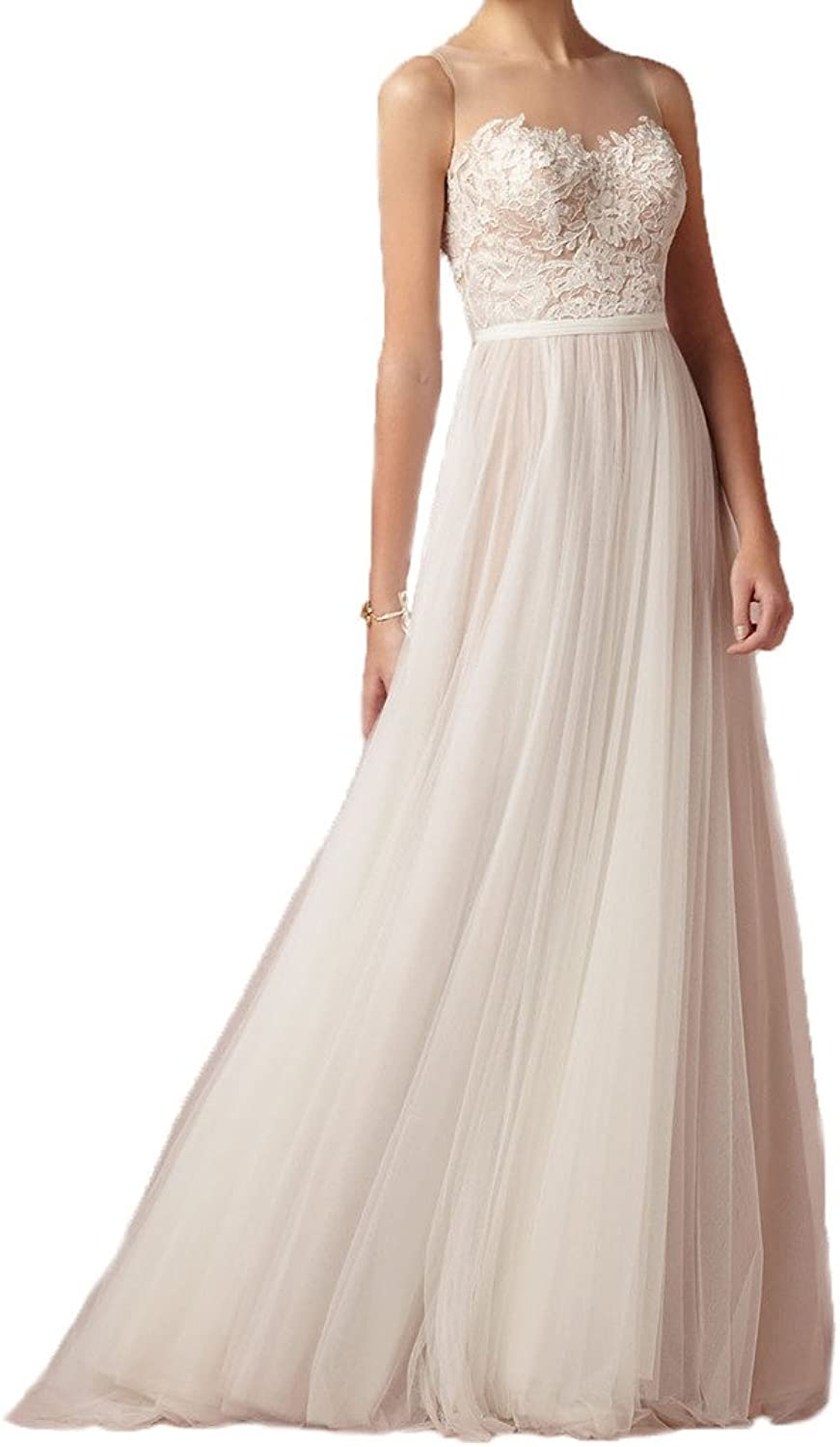 Cdress Sheer Lace Applique Long Tulle Beach Wedding Dresses Bridal Gowns
