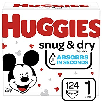 HUGGIES Snug & Dry Baby Diapers Size 1 White 124 Count