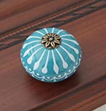 keramische knop/dressoir knoppen wit blauw kabinet trekt knoppen/unieke keuken deur handvat knop meubilair hardware dresso...