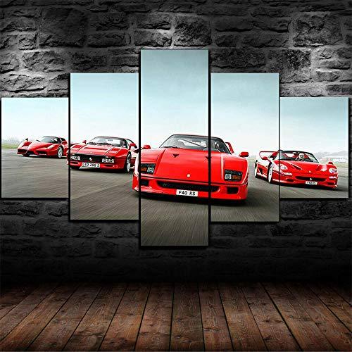 IIIUHU Immagini da Parete 5 Pezzi Quadro su Tela Gruppo di vetture Ferrari d'Epoca Quadri Moderni Camera da Letto Adesivo Murale da Parete Quadri Grandi Dimensioni Regali di Natale con Cornice