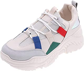 Sneakers for Women Clearance,Fashion Women Lace Up Mix Color White Neutral Breathable Cool Wedges Shoes