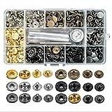 EXCEART 1 Caja de 120 Juego de Cierre a Presión Botones Metálicos con Herramientas de Fijación para Ropa Chaquetas Jeans Pulseras Bolsos