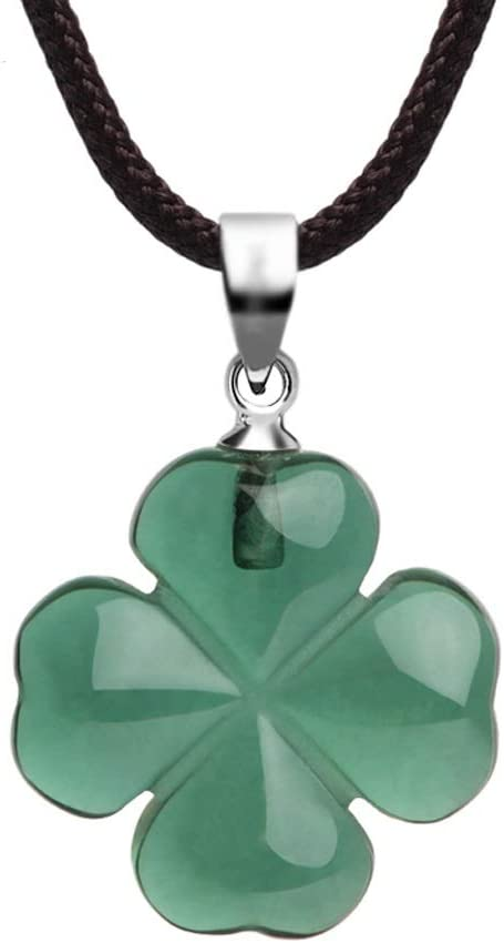 sararui Pendant Necklaces Four-Leaf Clover Necklace Synthetic Green Crystal Lucky Jewellery  Rope Length 16/18inch Necklaces for Women (Size : 45cm)