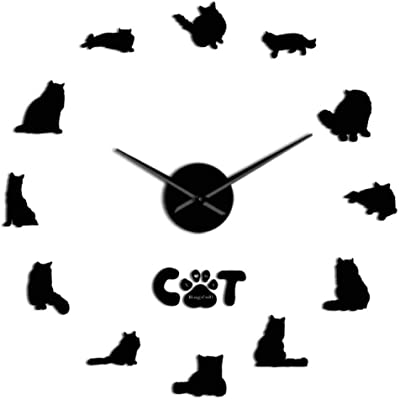 Kittens Giant Big Cat DIY  Frameless Wall Clock with Mirror Effect  Wall Sticker