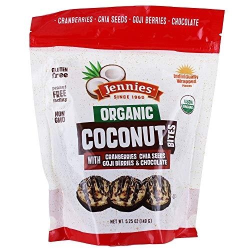 Jennies Organic Coconut Bites with Goji & Chia, 5.25oz Gluten Free, Non-GMO, Peanut Free, Kosher (1)