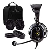 KORE AVIATION KA-1 Premium Gel Ear Seal PNR Pilot Aviation Headset with MP3 Support, Carrying Case, Cloth Ear Covers, Extra Gel Ear Seals Included