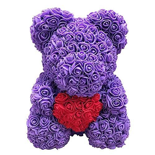 Delisouls Rosa Oso Osito Oso, Hecho a Mano Lindo Moda Precioso Rojo Grande Rosa Juguetes, Adornos Regalos para San Valentín Día 25cm Fiesta Cumpleaños Paisaje - Azul Real (Purple)