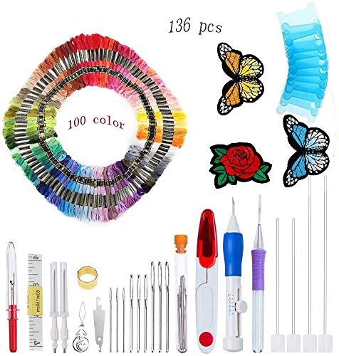 Xinsy Magic DIY Embroidery Pen Set, 136Pcs Embroidery Pen Punch Needle with 100 Color Threads, Embroidery Patterns Punch Needle Kit Craft Tool for Sewing Pattern Knitting