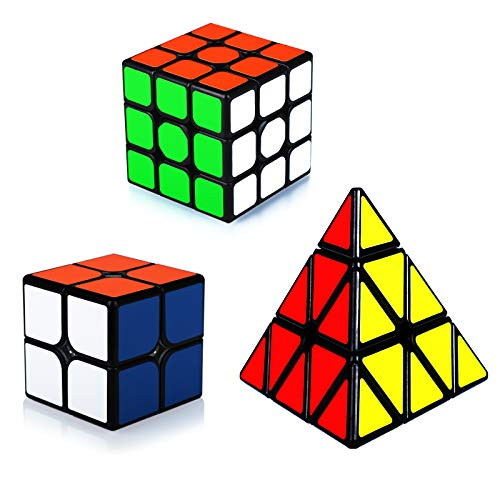 Maomaoyu Cubo Magico de la Velocidad Set, Cubo 2x2 3x3 Pyraminx ,Caja de Regalo de 3 Piezas Set Negro