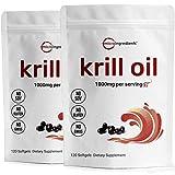 2 Pack Antarctic Krill Oil Supplement, 1000mg Per Serving, 120 Soft-Gels Each, Rich in Omega-3s EPA, DHA & Astaxanthin, Supports Immune System & Brain Health, Premium Krill Oil Capsules (Liquid)