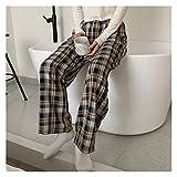 CML Pantalon Damier for Femmes Pantalons à Carreaux Vintage Mode Large Jambe Pantalons Femmes Bleus Harajuku Pantalon surdimensionné (Color : Heilan, Size : S)