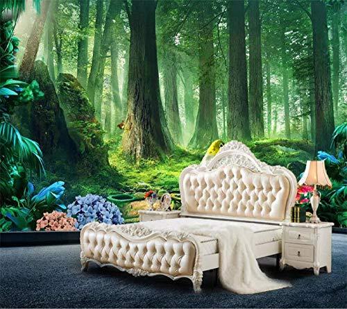 Tapeten Brauch Tapete 3D Fototapeten Frische Waldgrün Natur Großen Kreativen Hintergrund Wandmalerei 3D Wandbild,300 * 210Cm