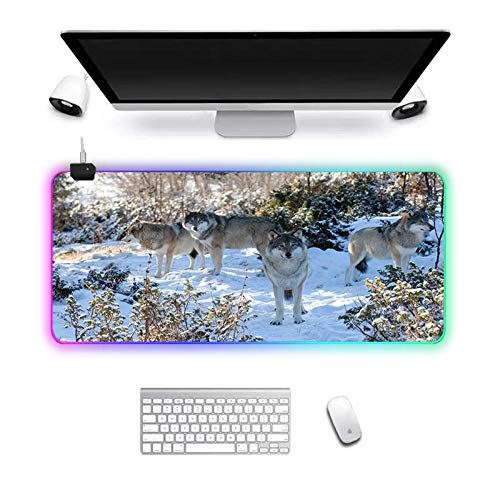 Gaming Mouse Pad RGB Computer Mouse Pad Large Gaming Mousepad XXL Mouse Pads LED Gamer Mause Carpet Desk Mat Four Wolves 70X30cm