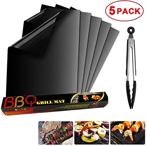 FIF BBQ Grillmatte 5er-Set, wiederverwendbarer Antihaft-Grill und Backmatten für Backofen, Holzkohle, Elektrogrill, beständig bis 260 ° C