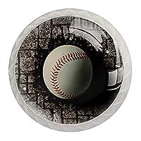 キャビネットおよび引出しのためのドアハンドルノブ野球はレンガの壁に埋められました クリスタルガラスは4個を扱います