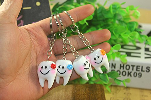 Airgoesin 20pcs Keychain Key Ring Hang Tooth Shape Cute Promo Dental Gift