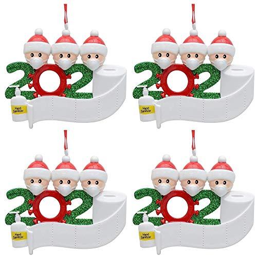 4 piezas de adornos para árboles de Navidad familiares 2020, decoraciones navideñas personalizadas, nombre personalizado de bricolaje, recuerdo 2020 para la víspera de Navidad, regalo familiar de Nav