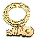Hip Hop Jewels Large Wooden Soulja Boy #Swag Natural Wood Pendant & Chain