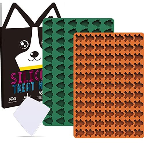 WeChip Silikon Backmatte,2 Stücke-Weihnachtsbaum und Lebkuchenmann Backunterlagen mit Teigschaber,Mehrzweck Backform für Hundekekse,Hundeleckerlies,Pralinenform,Hitzebeständig Antihaftend.