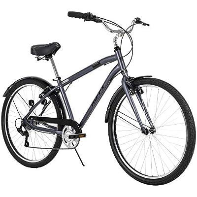 Huffy Hyde Park Mens Comfort Bike, 7 Speed, 27.5 Inch Wheels, Matte Storm