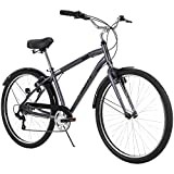 Huffy Hyde Park Mens Comfort Bike, 7 Speed, 27.5 Inch Wheels, Matte Storm