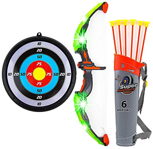 Toytykes Bow and Arrow Set for Kids - Green LED Light Up Function Archery, Practice Outdoor Toy Set with 6 Durable Suction Cup Arrows, Target, and Quiver - Perfect Hunting Games for Boys and Girls
