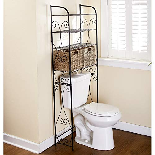 Fantastic Prices! Briskly41 Over The Toilet Space Saving Rack with Shelves and Wicker Baskets