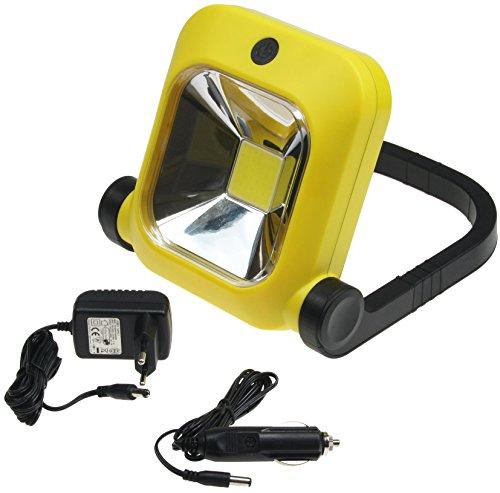 Chilitec LED Baustrahler mit Akku | aufladbare Arbeitsleuchte | inklusive Ladegerät für Steckdose und Zigarettenanzünder | 1600 Lumen |20 Watt | 4500 K neutralweiß