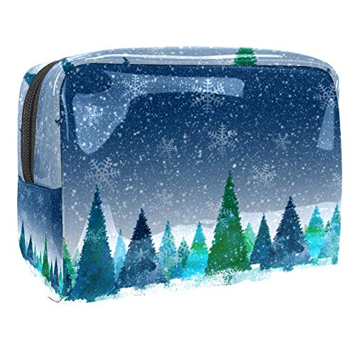 Travel Makeup Bag Portable Cosmetic Case Waterproof Toiletry Bag Large Storage Organizer Pouch for Women and Girls - Christmas Winter Tree Forest Snow