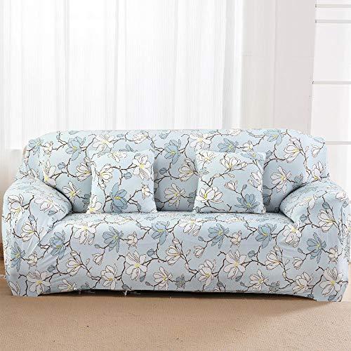 SDFWEWQ Elastischer Sofabezug 1 2 3 4 Sitzer Weich Farbecht Anti Rutsch Mode Beliebt Klassisch Muster Universal Sofabezüge Wohnzimmer Möbelschutz Couch Schonbezug (1 Sitzer 90-140 cm,Hellblau)