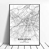 Leinwanddruck,Damaskus Syrien Schwarz-Weiß-Stadt Kunst
