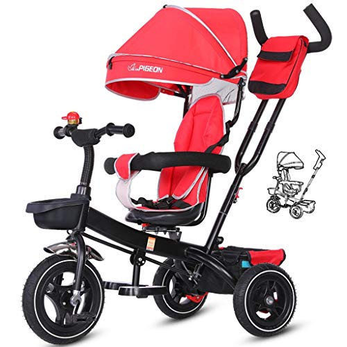 Lowest Prices! Kids' Trikes Tricycle, Children Pedal 3 Wheelers Buggy Push 4 in 1 Canopy Prime Rotat...