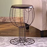 The Lakeside Collection Wine and Bottle Cork Goblet Shaped Holder Accent Table with Opening