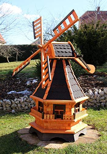 XXL 1,30 m Windmühle für den Garten Solar, Farbe schwarz imprägniert 18