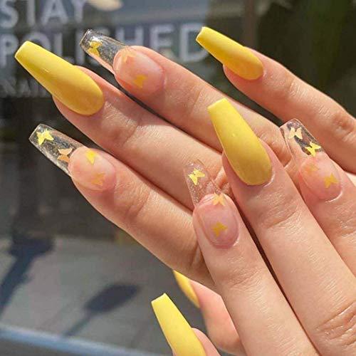 Derora Coffin Press on Nails Fake Nails Long False Nails Full Cover Nails Acrylic Nails Tips for Women and Girls (24Pcs) (Yellow)