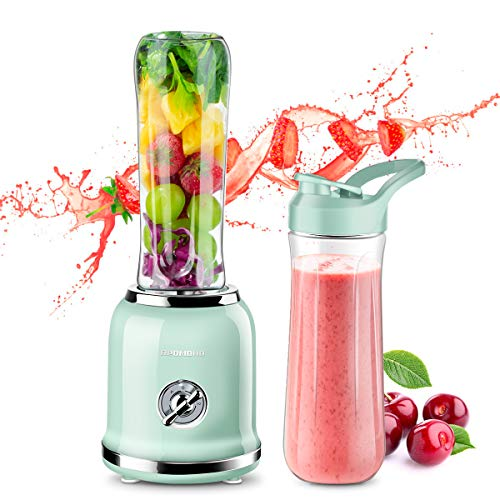 REDMOND Personal Blender Countertop Smoothie Blender 21000RPM with 2 x 20oz Travel Bottle 2 Speed, Pulse Function 6 Stainless Steel Blades BPA Free Green