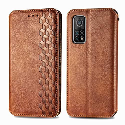 TOPOFU Leather Folio Case for Xiaomi Mi 10T/10T Pro, Premium PU/TPU Flip Wallet Cover with Card Holder, Magnetic, Kickstand, Book Style Protective Cover (Brown)
