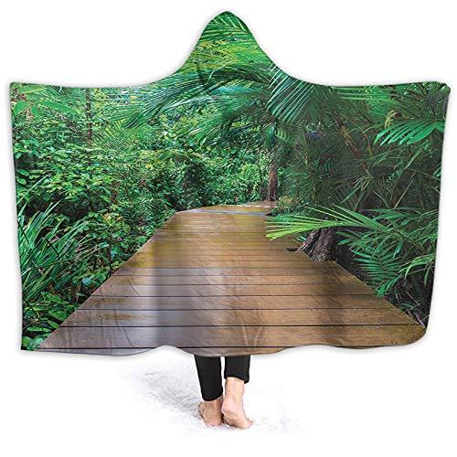 ThinkingPower Poncho Blanket Timber Jetty Exotic Getaway Wildern Tropic Plants Rain Wearable Blanket Hoodie Soft, Warm, and Comfortable 60 x 50 Inch