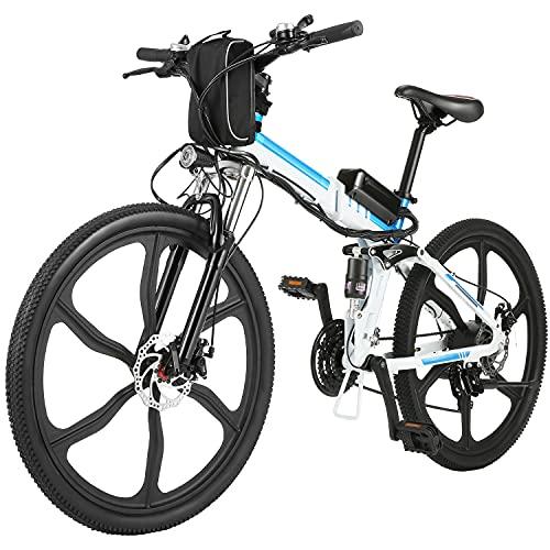 """ANCHEER 26"""" Mountain bike pieghevole Bicicletta elettrica Sistema di trasmissione a 21 velocità con Sedile regolabile 36V/8AH Batteria al litio Carico massimo: 120 kg (Bianco)"""