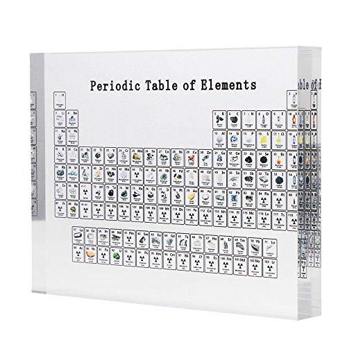 LTXDJ Tabla periódica de elementos, tabla periódica de acrílico con elementos, para estudiantes, maestros, niños, regalos, manualidades, 150 * 114 * 20mm