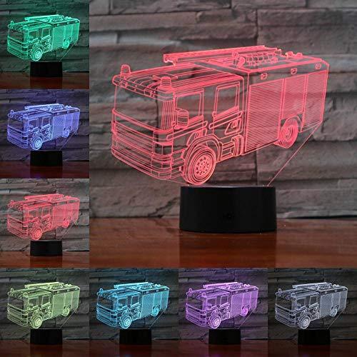 3D Illusion Nuit Lumière Led Camion De Pompiers Veilleuse Lampe 7 Couleur Tactile Lampe Art Décor Pour Chambre Chevet Table Enfants Cadeau Noël Fête Anniversaire