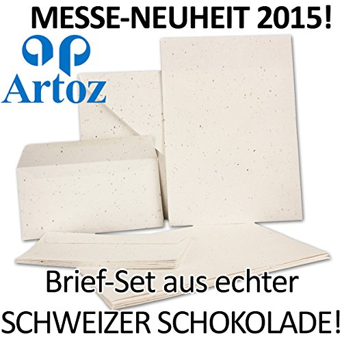 Papier met echte Zwitserse chocolade brievenset met 15 x A4 vellen & 10x DIN LANG envelop