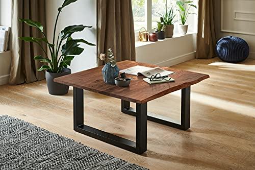 SAM Couchtisch 90 x 90 cm Quintus, echte Baumkante, massiver Beistelltisch aus Akazienholz, nussbaumfarben, Metallgestell schwarz