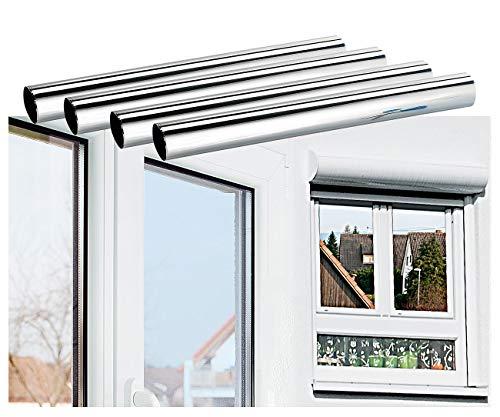 infactory Wärmeschutzfolie Fenster: 4er-Set Isolier-Spiegelfolie, Sicht-/UV-Schutz, selbstklebend,40x200cm (Sonnenschutzfolie Fenster)