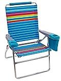 Rio Gear Beach 17' Extended Height 4-Position Folding Beach Chair - Graphic Traffic Blue/White/Multi Stripe
