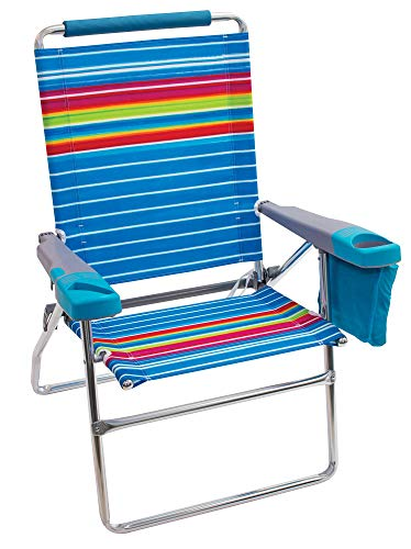 "Rio Gear Beach 17"" Extended Height 4-Position Folding Beach Chair - Graphic Traffic Blue/White/Multi Stripe"